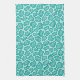 Girly Teal Leopard Pattern Kitchen Towel