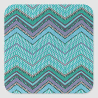 Girly Teal Purple Zig Zag Pattern Square Sticker