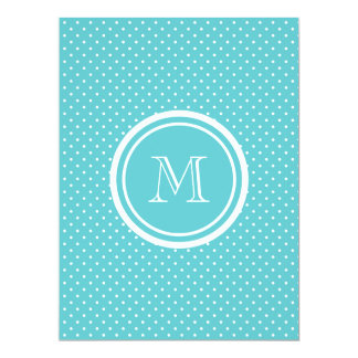 Girly Teal White Polka Dots, Your Monogram Initial 17 Cm X 22 Cm Invitation Card