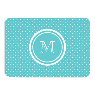 """Girly Teal White Polka Dots, Your Monogram Initial 3.5"""" X 5"""" Invitation Card"""