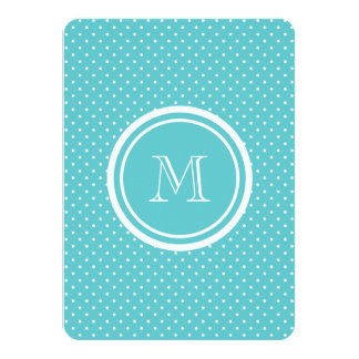 Girly Teal White Polka Dots, Your Monogram Initial Personalized Invites