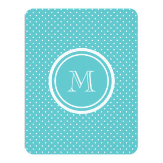 """Girly Teal White Polka Dots, Your Monogram Initial 4.25"""" X 5.5"""" Invitation Card"""
