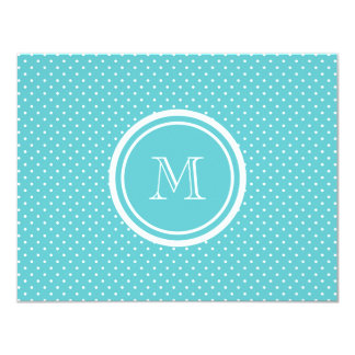 Girly Teal White Polka Dots, Your Monogram Initial 4.25x5.5 Paper Invitation Card