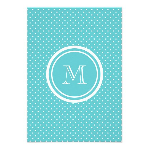 Girly Teal White Polka Dots, Your Monogram Initial Custom Announcement