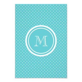 Girly Teal White Polka Dots, Your Monogram Initial 3.5x5 Paper Invitation Card
