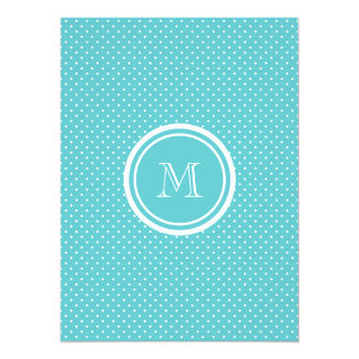 """Girly Teal White Polka Dots, Your Monogram Initial 5.5"""" X 7.5"""" Invitation Card"""