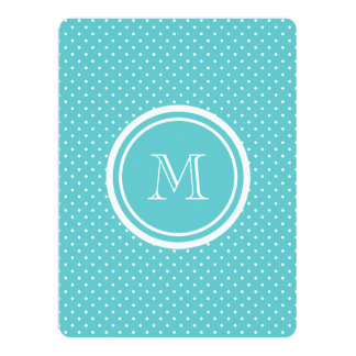 """Girly Teal White Polka Dots, Your Monogram Initial 6.5"""" X 8.75"""" Invitation Card"""