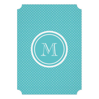 Girly Teal White Polka Dots Your Monogram Initial Announcement