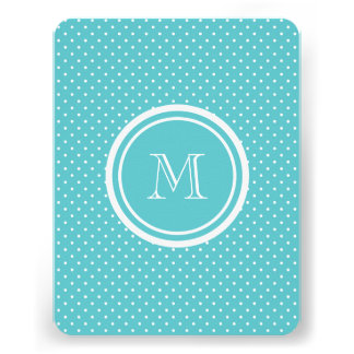 Girly Teal White Polka Dots Your Monogram Initial Announcements