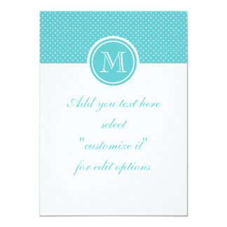 Girly Teal White Polka Dots, Your Monogram Initial 4.5x6.25 Paper Invitation Card