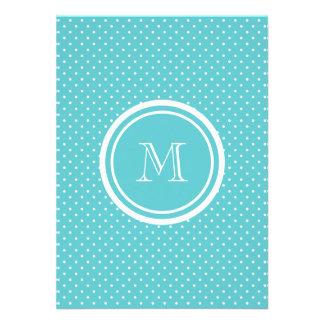 Girly Teal White Polka Dots Your Monogram Initial Personalized Announcement