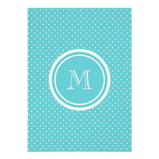Girly Teal White Polka Dots, Your Monogram Initial Personalized Announcement