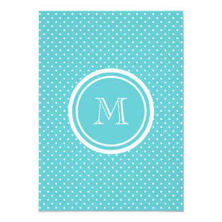 """Girly Teal White Polka Dots, Your Monogram Initial 4.5"""" X 6.25"""" Invitation Card"""