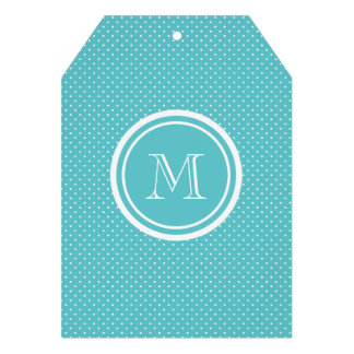 Girly Teal White Polka Dots Your Monogram Initial Custom Invites