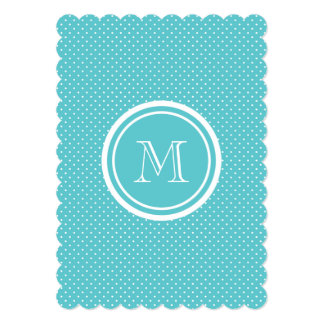 Girly Teal White Polka Dots, Your Monogram Initial Cards