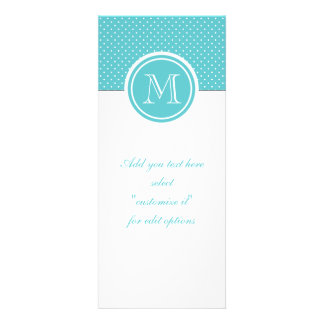 Girly Teal White Polka Dots Your Monogram Initial Personalized Invitation