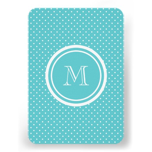 Girly Teal White Polka Dots, Your Monogram Initial Custom Invitations