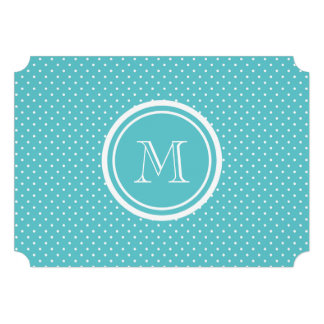 Girly Teal White Polka Dots Your Monogram Initial Invite
