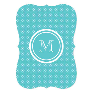 Girly Teal White Polka Dots, Your Monogram Initial Invites