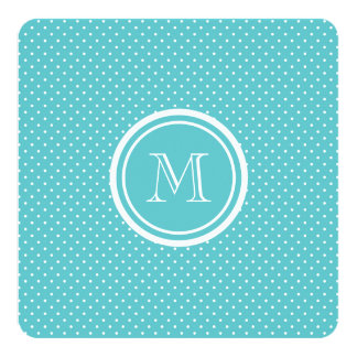 """Girly Teal White Polka Dots, Your Monogram Initial 5.25"""" Square Invitation Card"""