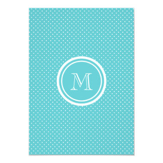 """Girly Teal White Polka Dots, Your Monogram Initial 5"""" X 7"""" Invitation Card"""