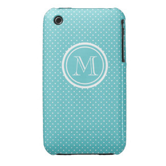 Girly Teal White Polka Dots, Your Monogram Initial iPhone 3 Case