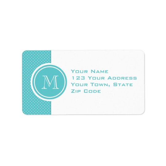 Girly Teal White Polka Dots, Your Monogram Initial Label