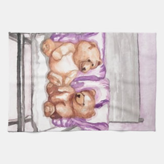 Girly Teddy Bear Talk Purple Lilac Grey Lavender Tea Towel