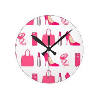 Girly things design round clock