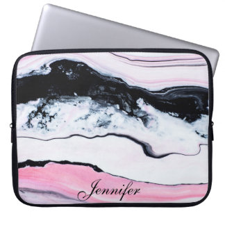 Girly TRENDY BLACK WHITE PINK MARBLE ADD YOUR NAME Laptop Sleeve