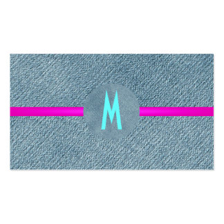 Girly Trendy Denim Jeans Modern Monogram Country Pack Of Standard Business Cards