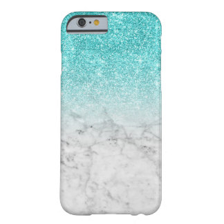 Girly Trendy Faux Aqua Glitter Marble Barely There iPhone 6 Case