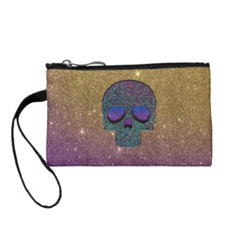 Girly Trendy Faux Glitter Skull Coin Purse