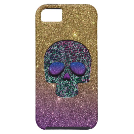 Girly Trendy Faux Glitter Skull iPhone 5 Covers