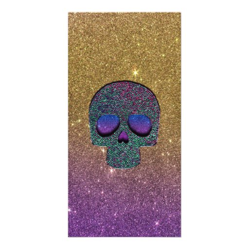 Girly Trendy Faux Glitter Skull Customized Photo Card