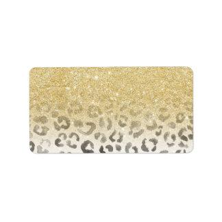Girly trendy faux gold glitter leopard watercolor address label