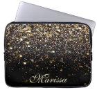 Girly Trendy Gold Glitter Modern Black Sleeve