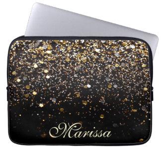 Girly Trendy Gold Glitter Modern Black Sleeve Computer Sleeve