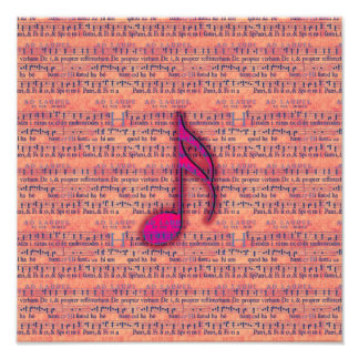 Girly Trendy Musical Note on Sheet Music Photo Print