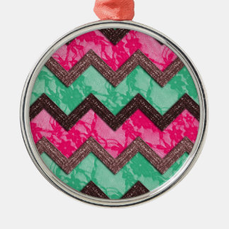 Girly Trendy Pink green zig zag lace Christmas Ornament