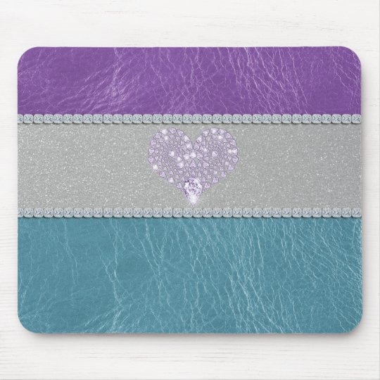 Girly trendy turquoise and purple leather diamond mouse