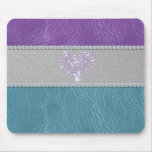 Girly trendy turquoise and purple leather diamond mouse pad