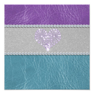 Girly trendy turquoise and purple leather diamond photograph