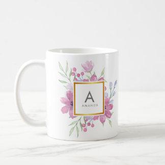 Girly TRENDY Watercolor Peony and Flowers Monogram Coffee Mug