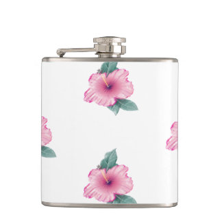 Girly Tropical Vintage Pink Hibiscus 6oz Flask