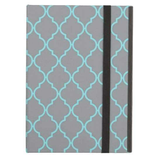 Girly Turquoise and Grey Pattern Case For iPad