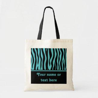 Girly turquoise blue and black zebra stripes tote bag