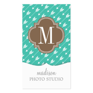 Girly Turquoise & brown Tribal Arrows Custom Business Cards