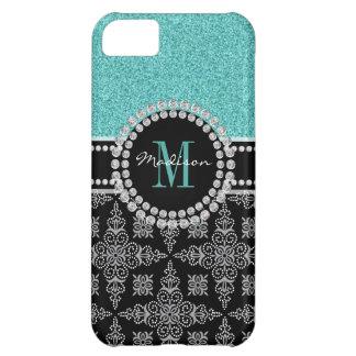Girly, turquoise glitter, black&white Damask, Name iPhone 5C Case