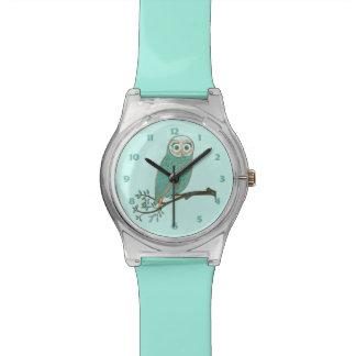 Girly Turquoise Owl on Branch Watch